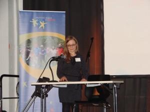 Tatjana Weber vom Landesvorstand der djoNRW gab einen Rückblick auf das Projekt. (Quelle: Dr. Christian Kahl)