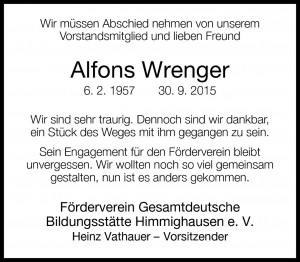 Traueranzeige Alfons Wrenger