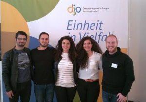 Teilnehmer eines gelungenen Bundesjugendtages: Malkis Charo, Ninos Yonan, Maya Yoken, Ninwa R Aras und Simon M-Elyas (Quelle: AJM)