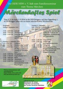 Das Programm zum Familienseminar des JSDR NRW verspricht viel (Quelle: JSDR NRW)