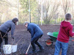 Mitarbeiter, djo Mitglieder und freiwillige Helfer packen mit an, damit 50 Kubikmeter Holzhackschnitzel ausgetauscht werden (Quelle: Lisa Burggraf)