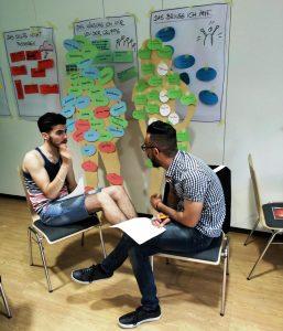 In Gesprächssituationen lernen die Teilnehmenden wie sie mit neuen Herausforderungen umgehen (Quelle: djoNRW/AJM e. V.)